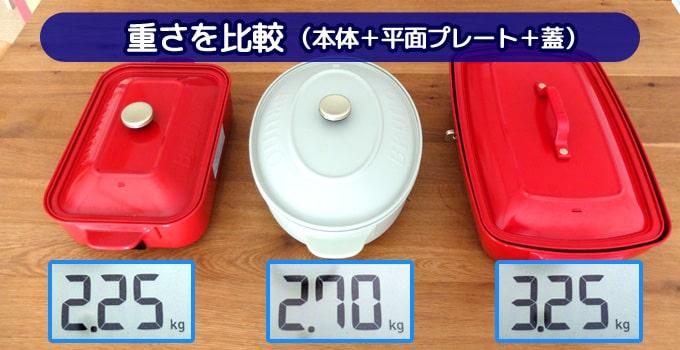 ブルーノホットプレート3種類の重量