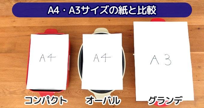 A4の紙・A3の紙と比較 ブルーノホットプレート3種類のサイズ