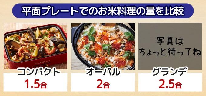 平面プレートでお米料理の量を比較|BRUNOホットプレート